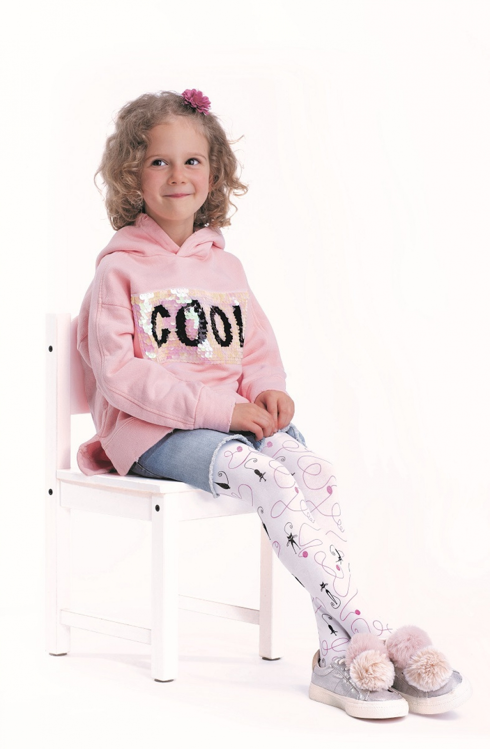 Children`s Tights with Application 116-122 6-7 Y Soft Cotton Rich Pink Grey New