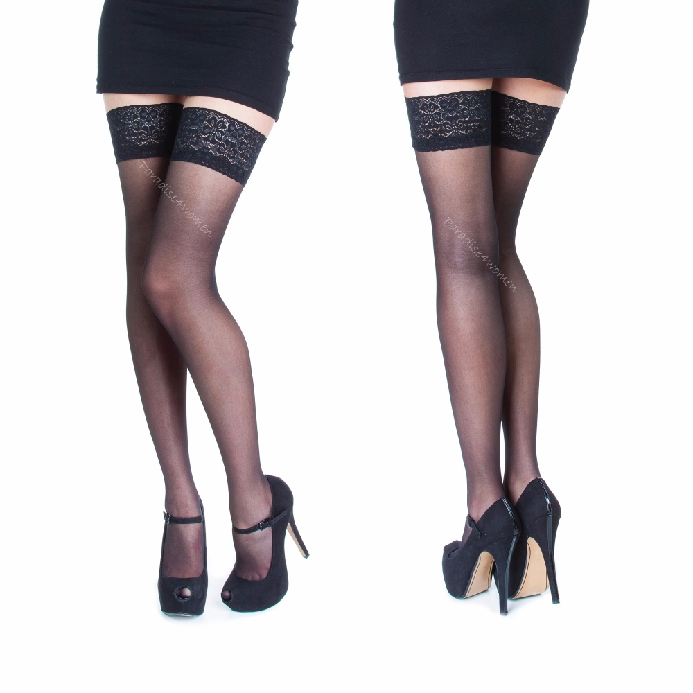 Sheer Hold-Ups 17 Denier with Lace Top Various Colours Sizes 1//2  3//4  5