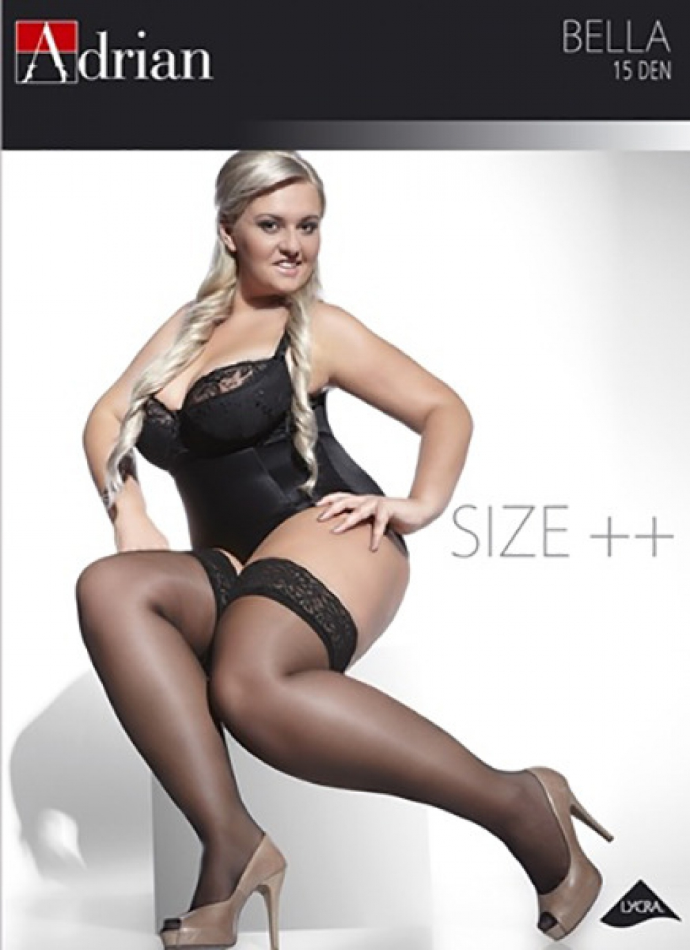 plus size 15d sheer lace top stockings hold ups adrian. Black Bedroom Furniture Sets. Home Design Ideas