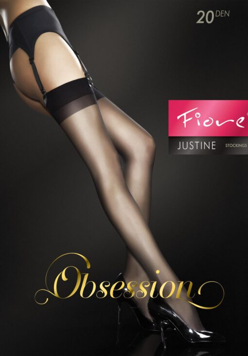 "Fiore Obsession Sheer ""JUSTINE"" Stockings 20 Denier Suspender Stockings"
