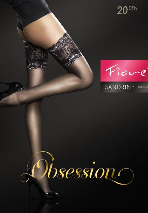 "Exclusive Hold-ups by Fiore ""SANDRINE"" -20 Denier - 15 cm Deep Lace Top"