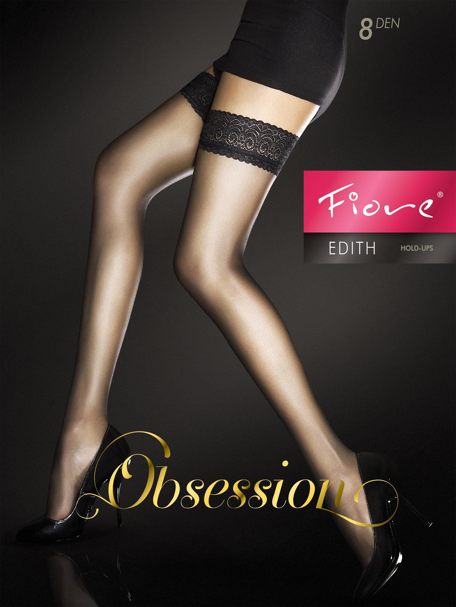 """Exclusive Hold-ups by Fiore """"EDITH"""" -8 Denier - 8 cm Deep Lace Top"""