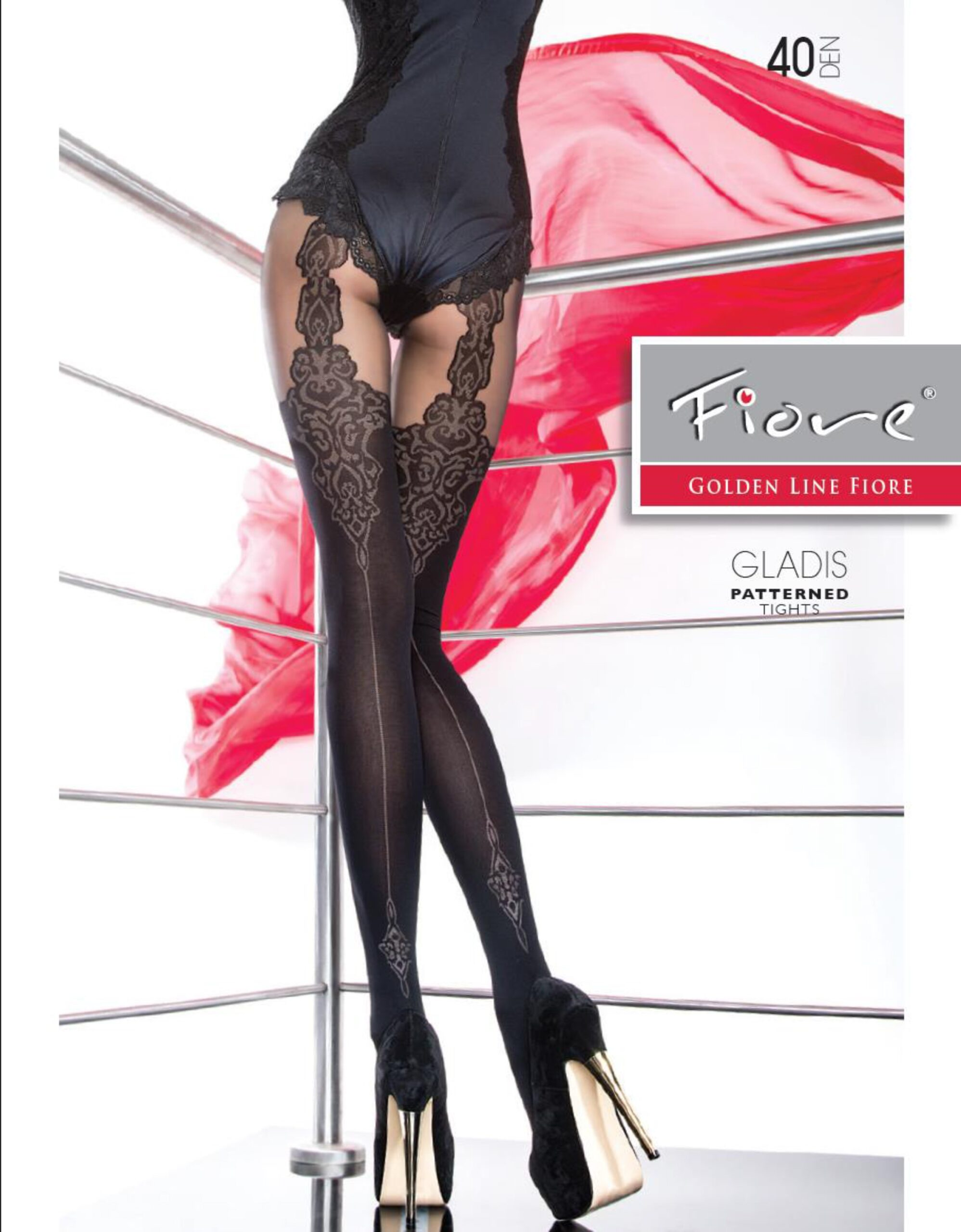 "New Collection Fiore ""GLADIS"" Patterned Tights 40 Denier Mock Suspender Tights"