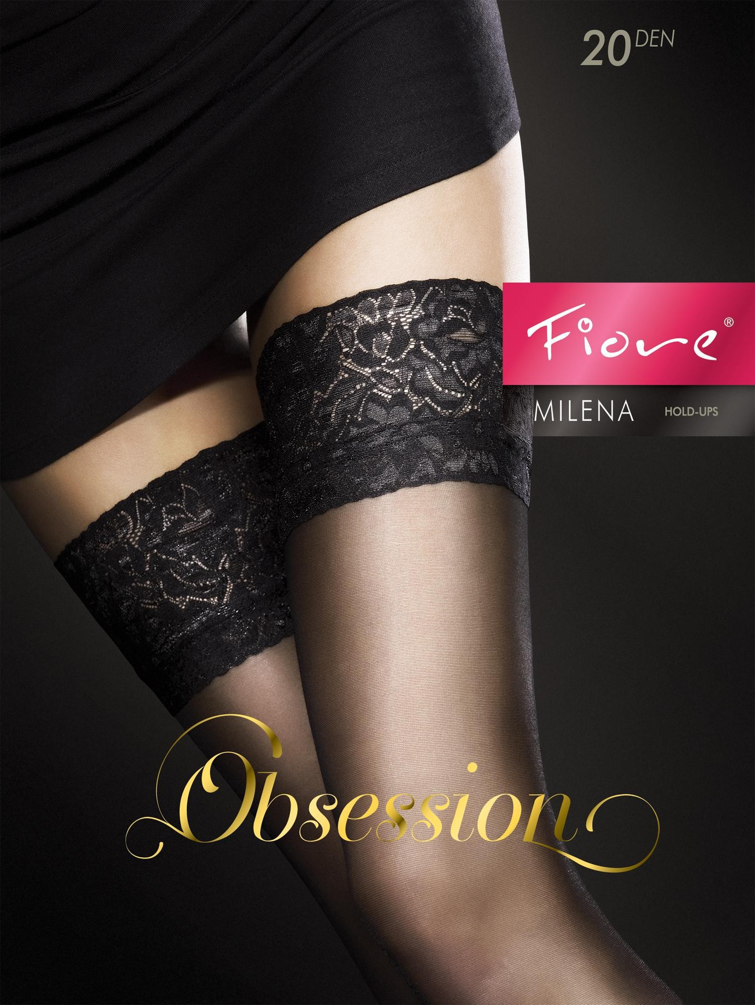 "Fiore ""MILENA"" Sheer Lace Top Hold-ups – 20 Denier"