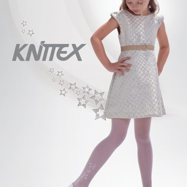 "Girls White Tights 20 Denier Ankle Star Pattern Bridesmaids Knittex ""MARIKA"""