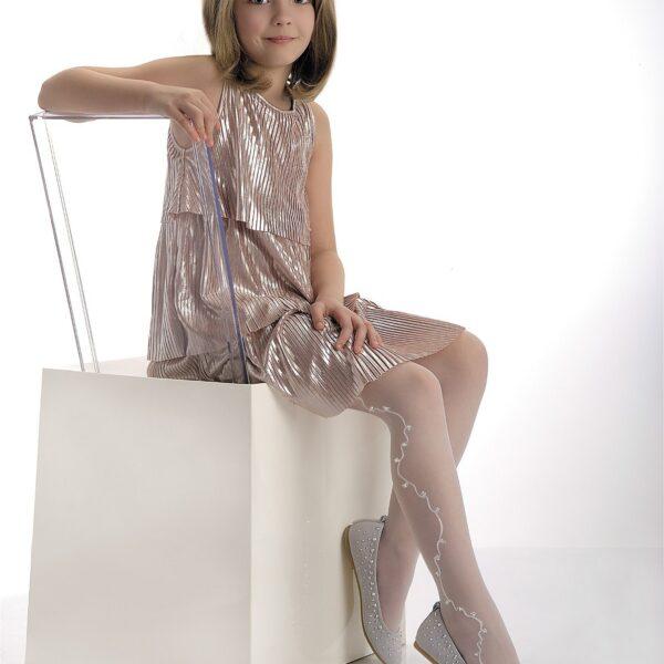 """Girls White Lurex Pattern Tights 20 Denier Bridesmaid Age 4-11 Knittex """"GRACE"""""""