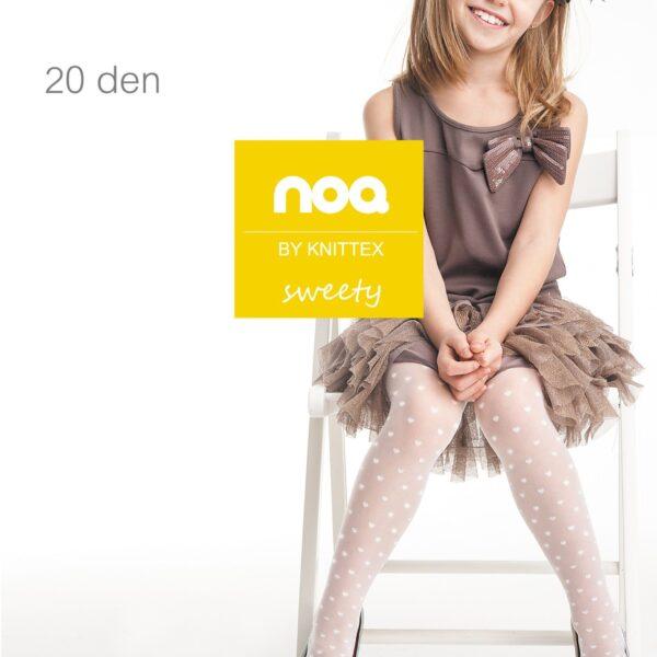 Knittex Girls White Tights 20 Denier Hearts Pattern Age 4-11 Style Sweety