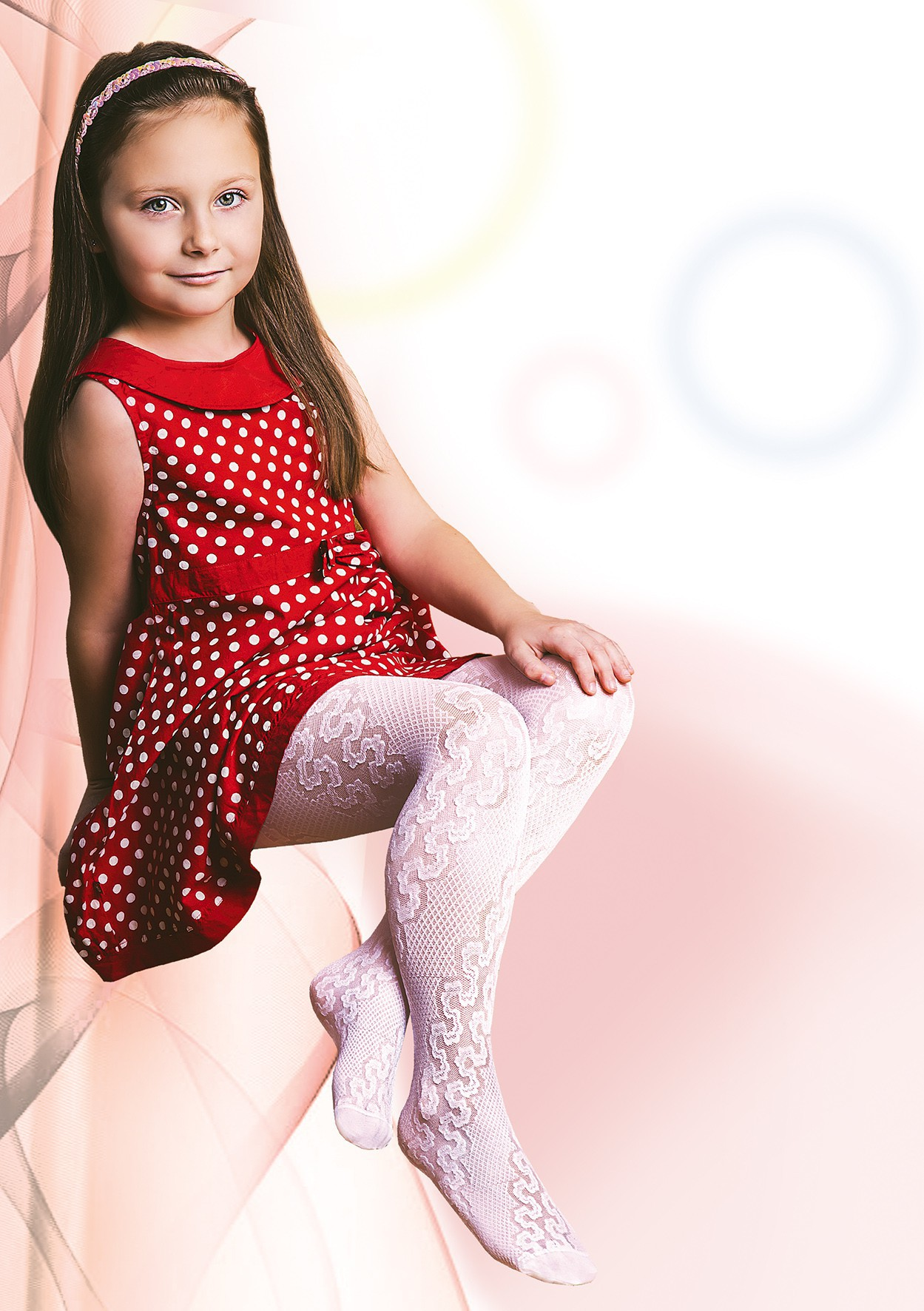 Aleksandra Girls White Tights 20 Denier Floral Lace Pattern Age 5-12 Jagoda