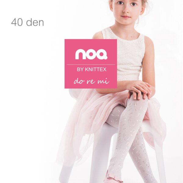 Knittex Girls White Tights Musical Pattern 40 Denier Age 2-10 Style DoReMi