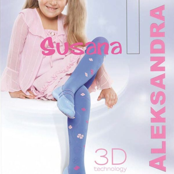 "Girls Tights 50 Denier Opaque 3D Flower Pattern By Aleksandra ""SUSANA"""