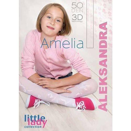 "Girls Tights 50 Denier Opaque 3D Flower Pattern By Aleksandra ""AMELIA"""