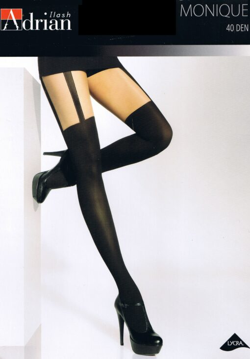 Ladies Patterned Tights Monique Mock Suspender 40 Denier Sensual and Elegant ,Sizes S,M,L,XL,XXL
