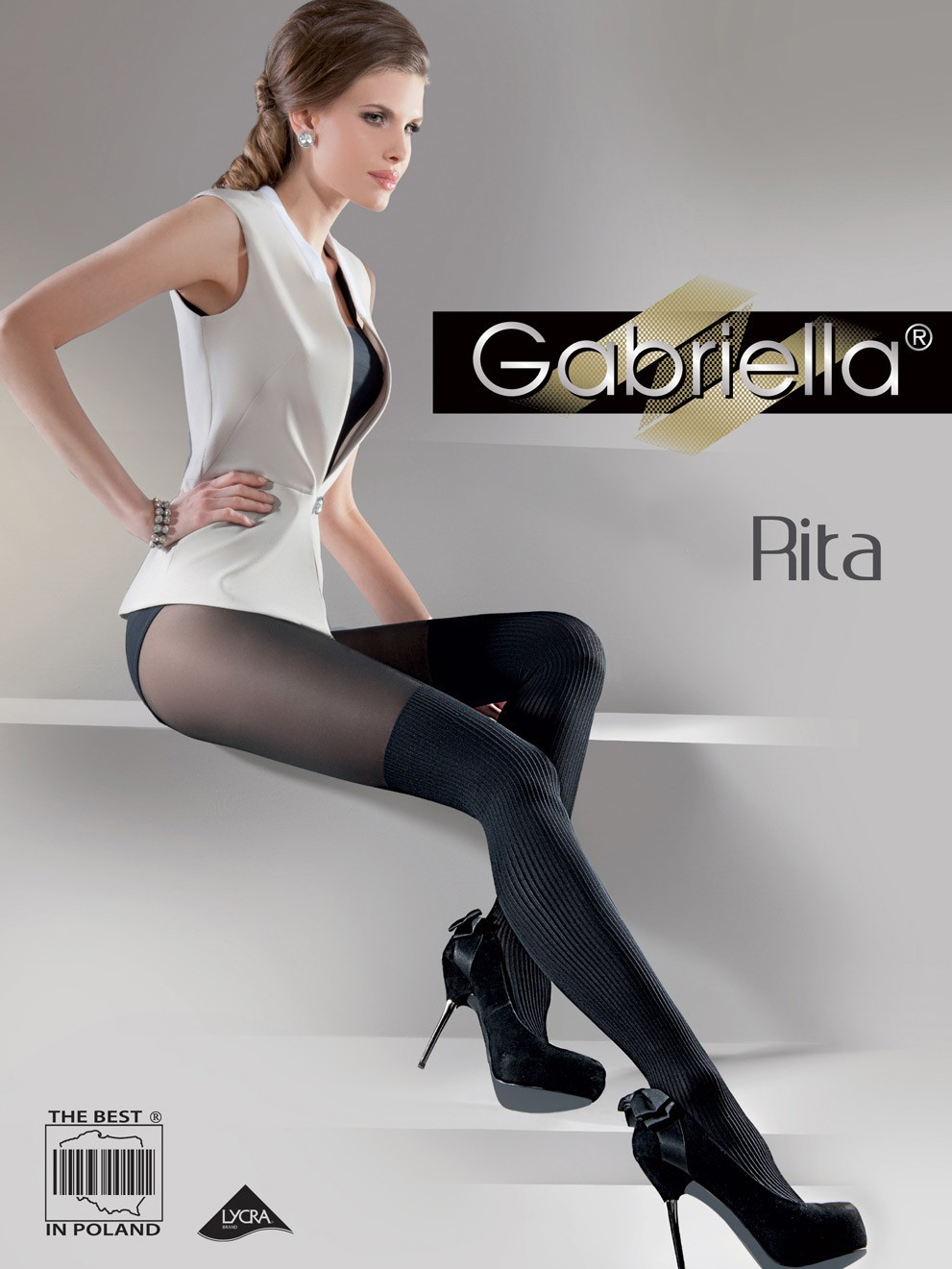 Rita Exclusive Fancy Patterned Tights With Fabulous Decorative Motif 40 Denier by Gabriella