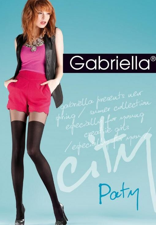 "Mock Suspender Tights By Gabriella "" Party"" with Imitating Over Knee Sock -Size S, M, L"