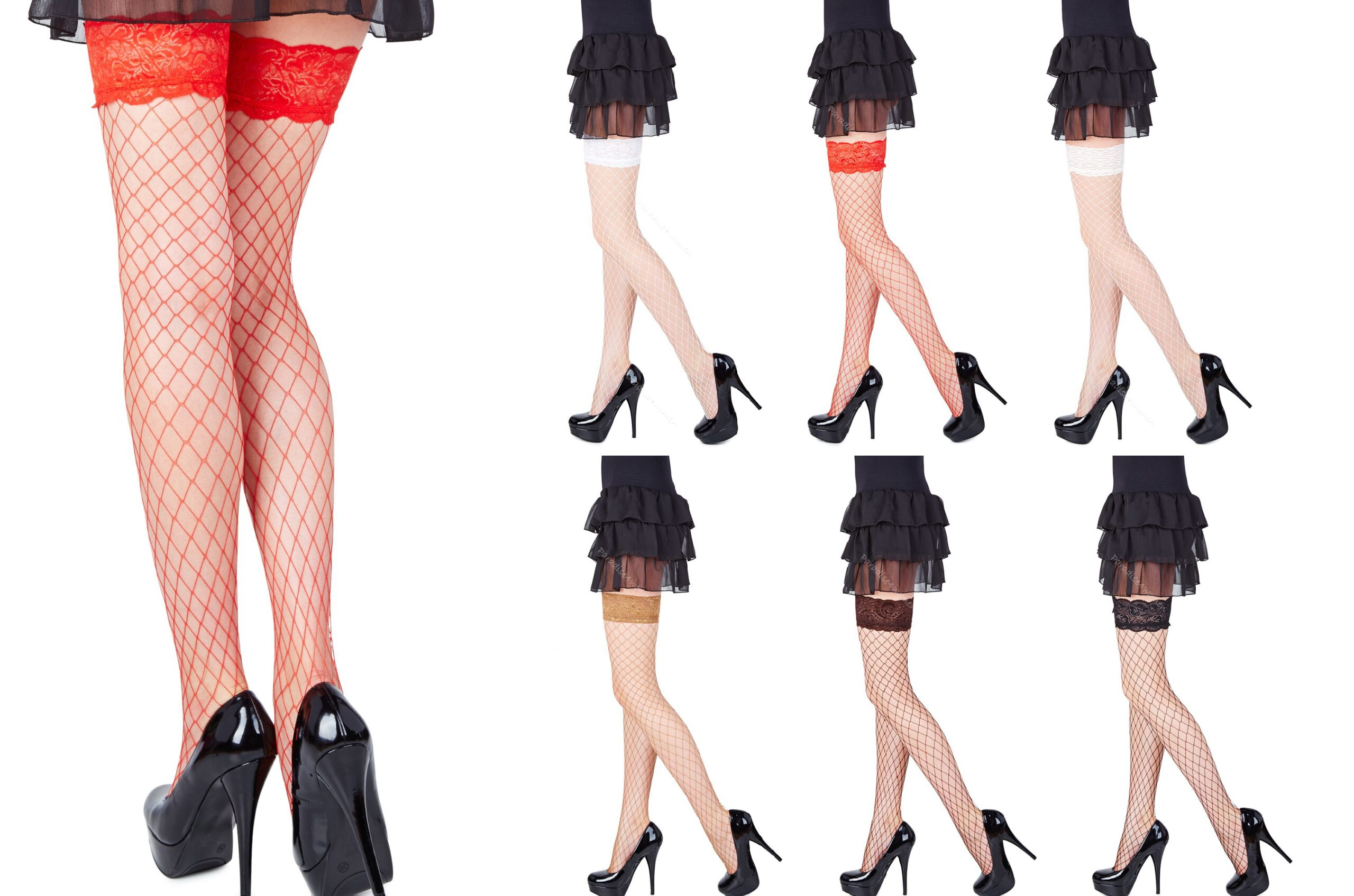 Sexy Lace Top Whale Net Hold Ups by Romartex -6 Various Colours ,Sizes S ,M , L, XL
