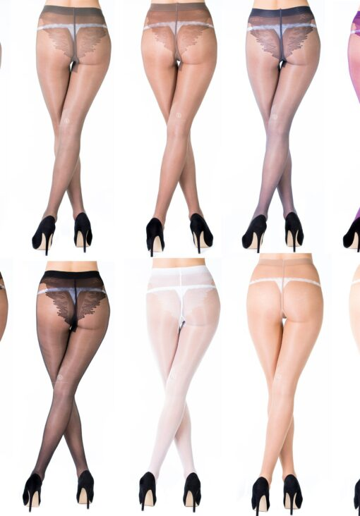 """Sheer Soft Tights With High Cut Bikini Patterned Mock Lace Brief, By Romartex """"KARINA"""""""