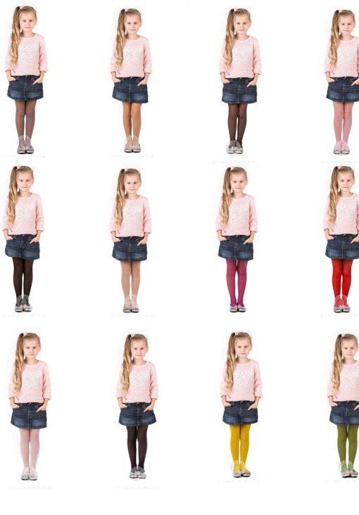 Girls Tights 15 Denier Lycra Soft Shine Bridesmaids ,12 Various Colours ,Age2-12
