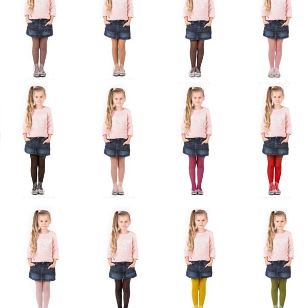 Girls Tights 15 Denier Lycra Soft Shine Bridesmaids ,12 Various Colours ,Age2-12