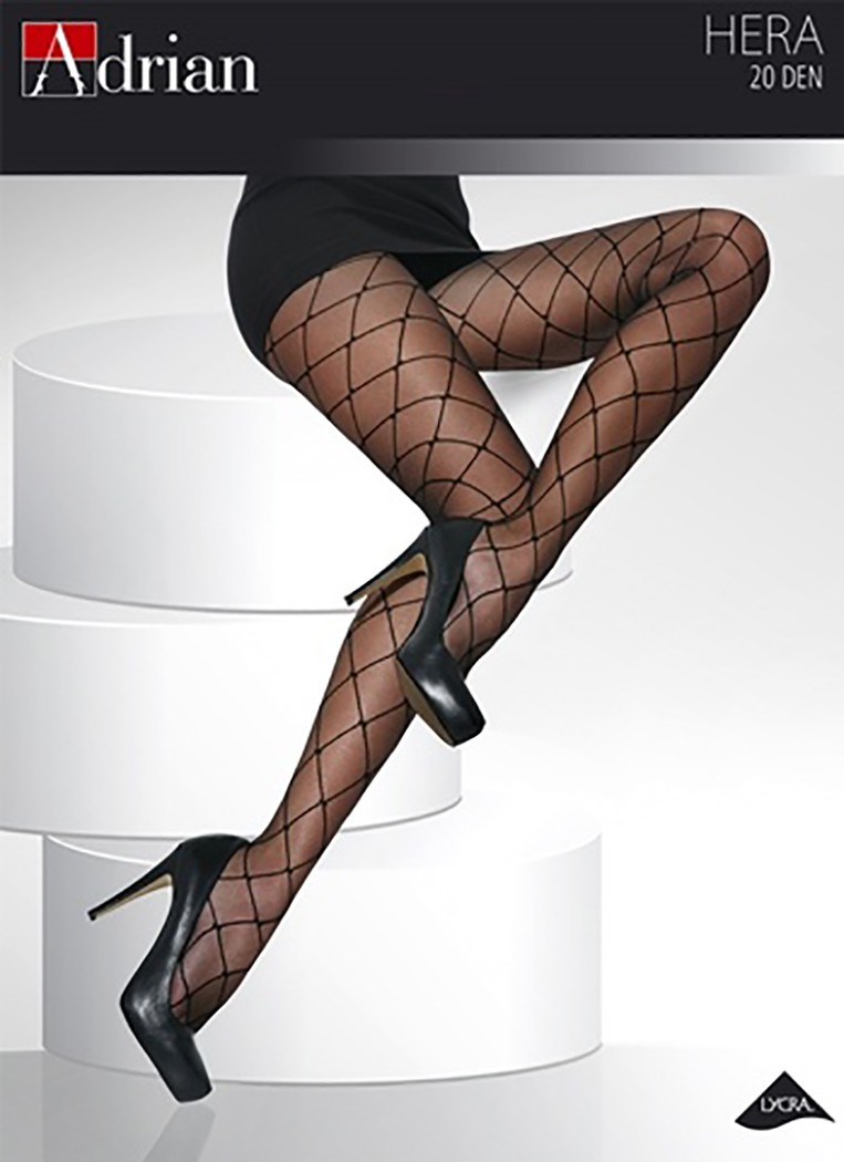 Plus Size 20 Denier Diamond Patterned Tights, Sheer Black Pantyhose, Adrian Hera