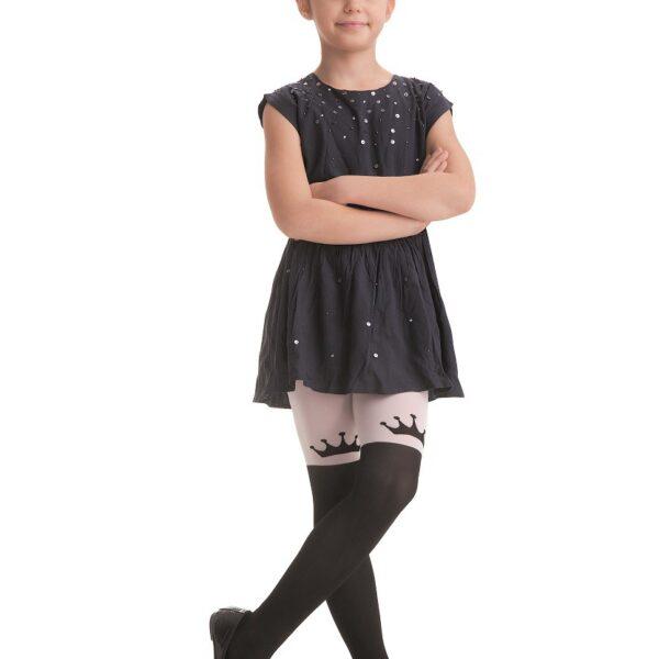 "Girls Tights By Knittex ""CROWN"" 40 Denier Microfibre ,Crown Pattern , Age 4-8"