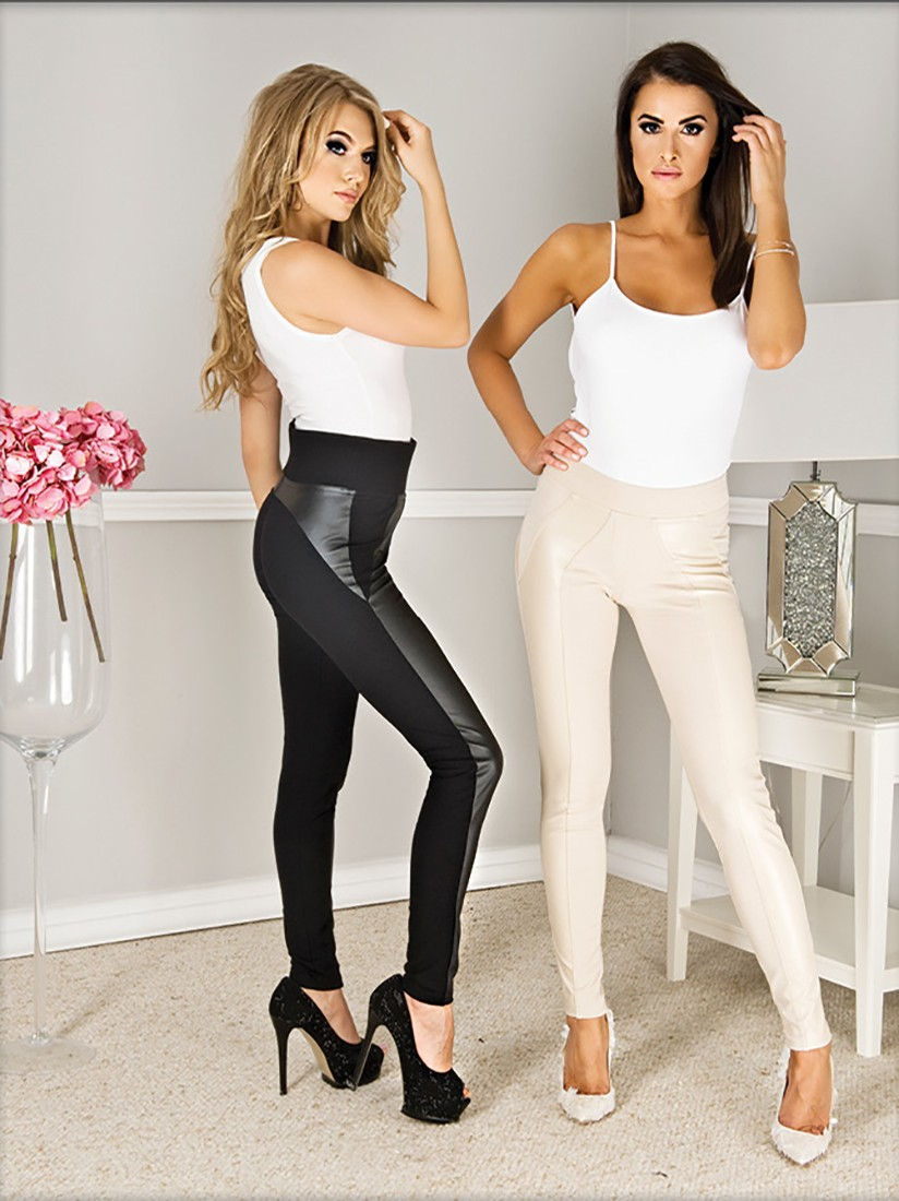 """Women High Waist Black Leather Look Jeans Trousers By Paulo Connerti """"Palermo"""""""