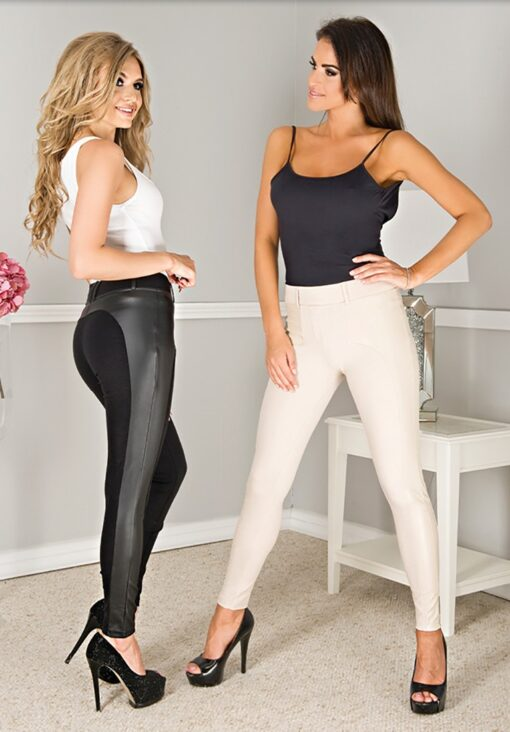 """Women High Waist Black Leather Look Jeans Trousers By Paulo Connerti """"Catrina"""""""