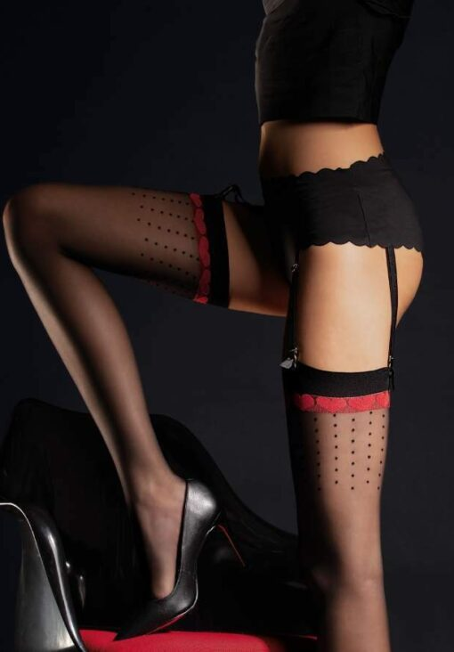 Fiore Suspender Stockings LOVELY with Red Hearts Top Pattern 20 Denier